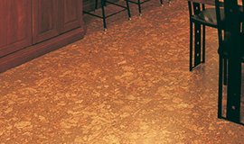 Varnished cork and bamboo flooring